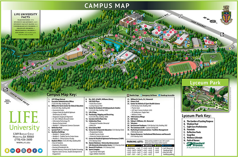 Map Of Georgia Universities.Campus Map Life University A World Leader In Holistic Health And