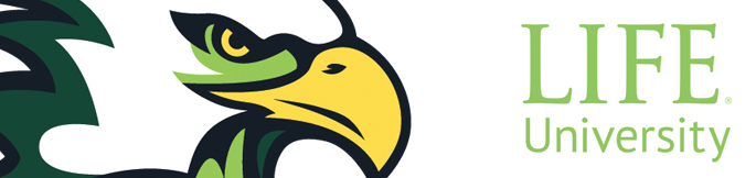 The Life University athletic eagle head logo and the Life University logo