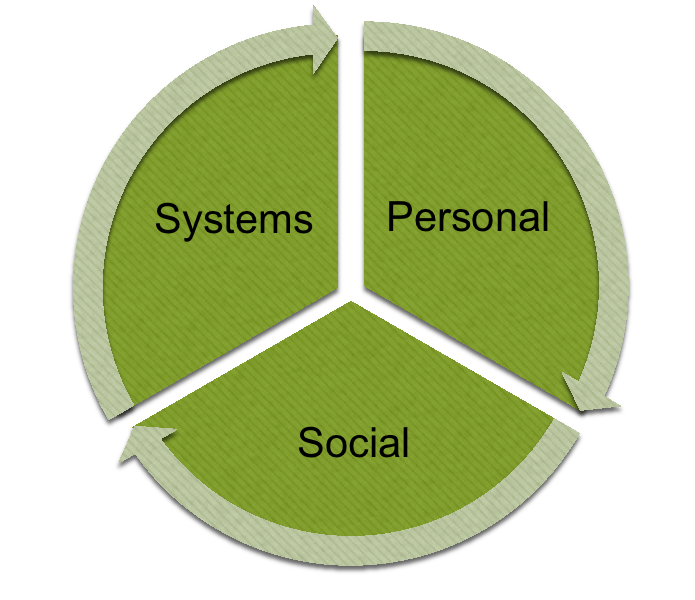 three domains of knowledge education model Systems, Personal and Social