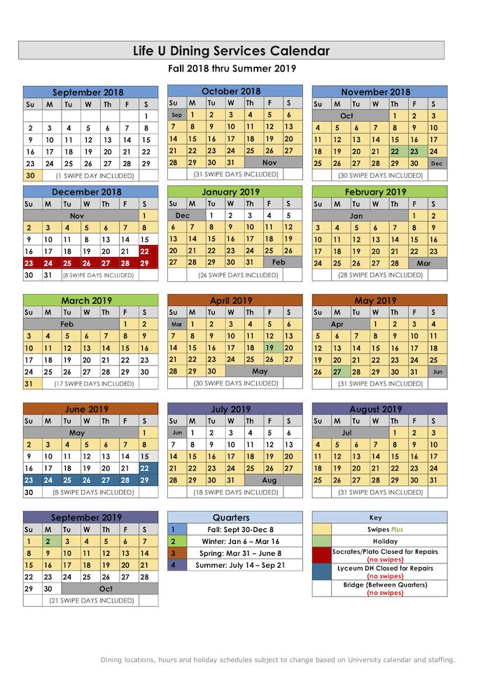 2018 2019 Life Chartwells Dining Calendar 2018 11 30 Life