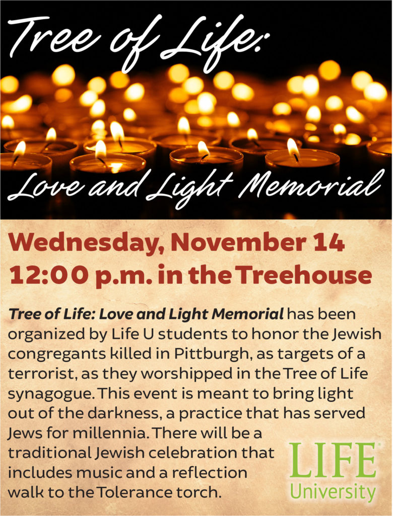 This flyer gives details of an event on Wednesday, November 14 to honor the Jewish congregation killed in Pittsburgh as an act of terrorism.